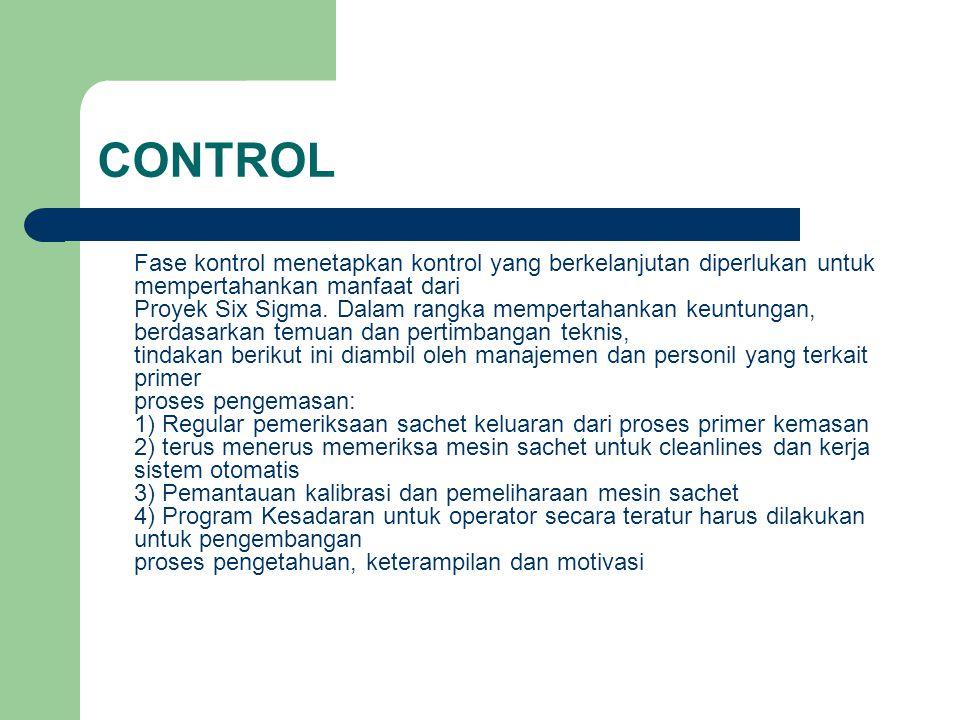 CONTROL Fase kontrol menetapkan kontrol yang berkelanjutan diperlukan untuk mempertahankan manfaat dari Proyek Six Sigma. Dalam rangka mempertahankan