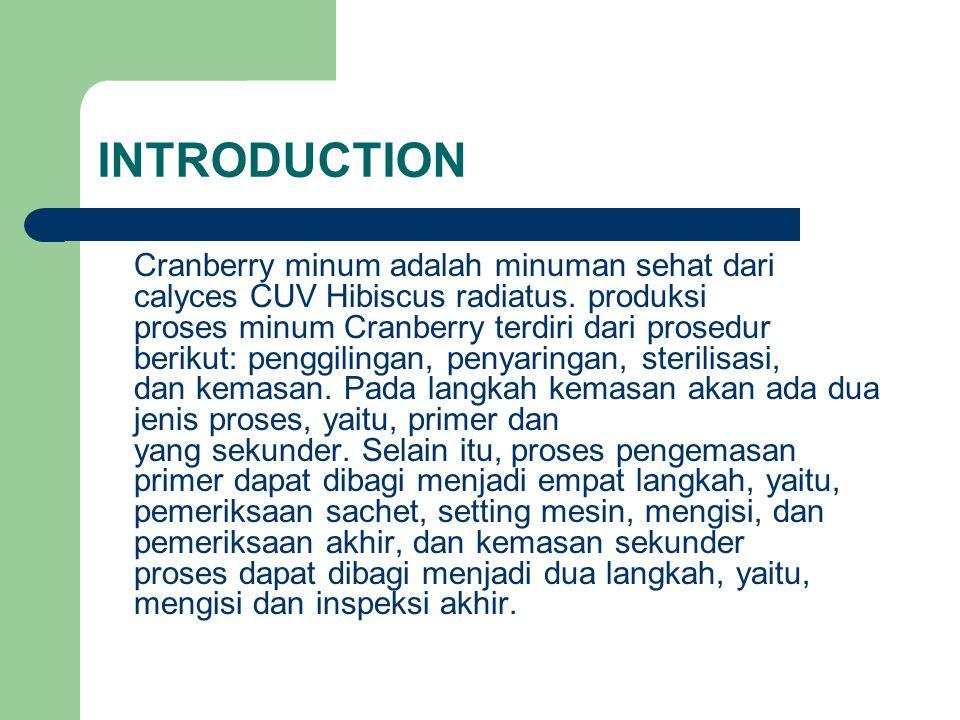 INTRODUCTION Cranberry minum adalah minuman sehat dari calyces CUV Hibiscus radiatus. produksi proses minum Cranberry terdiri dari prosedur berikut: p