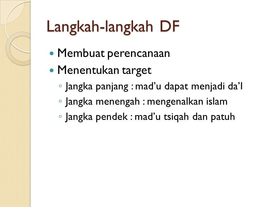 Langkah-langkah DF Membuat perencanaan Menentukan target ◦ Jangka panjang : mad'u dapat menjadi da'I ◦ Jangka menengah : mengenalkan islam ◦ Jangka pe
