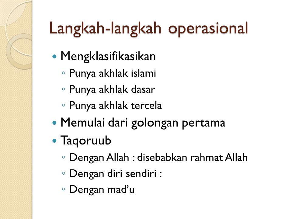 Langkah-langkah operasional Mengklasifikasikan ◦ Punya akhlak islami ◦ Punya akhlak dasar ◦ Punya akhlak tercela Memulai dari golongan pertama Taqoruu