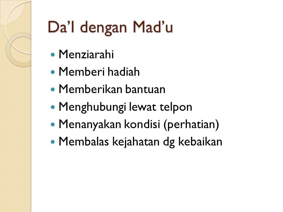 Da'I dengan Mad'u Menziarahi Memberi hadiah Memberikan bantuan Menghubungi lewat telpon Menanyakan kondisi (perhatian) Membalas kejahatan dg kebaikan