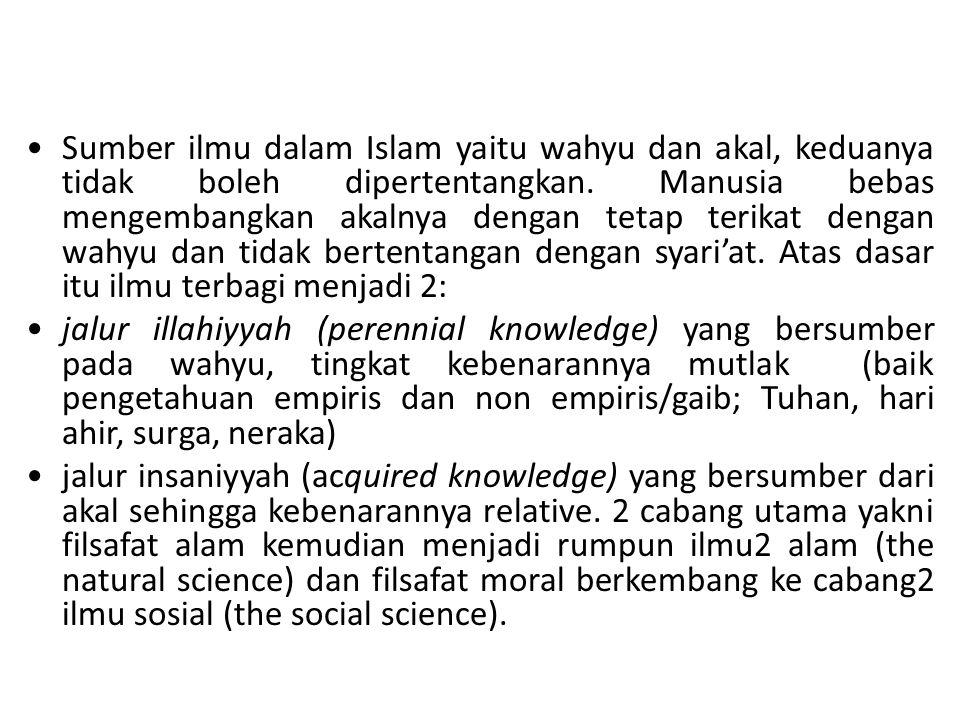 Sumber ilmu dalam Islam yaitu wahyu dan akal, keduanya tidak boleh dipertentangkan. Manusia bebas mengembangkan akalnya dengan tetap terikat dengan wa