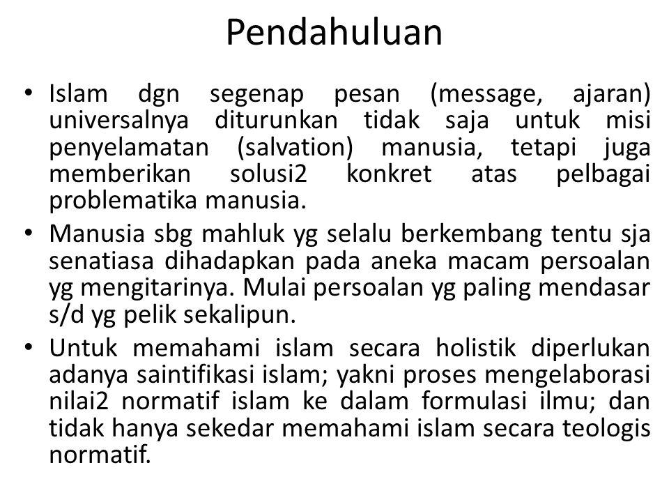 Pendahuluan Islam dgn segenap pesan (message, ajaran) universalnya diturunkan tidak saja untuk misi penyelamatan (salvation) manusia, tetapi juga memb