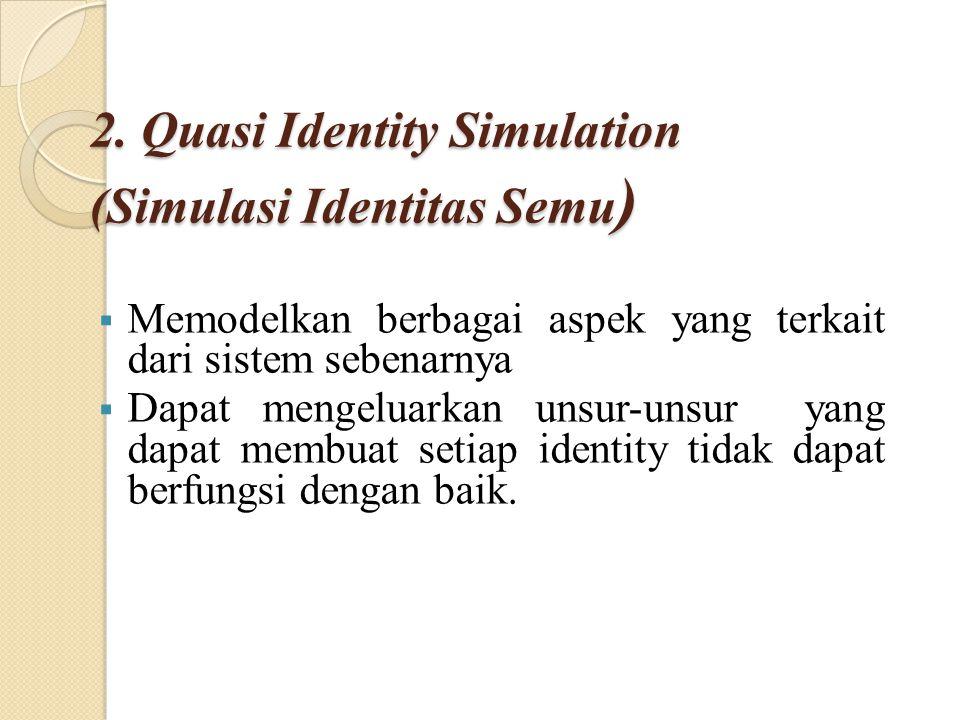 2. Quasi Identity Simulation (Simulasi Identitas Semu )  Memodelkan berbagai aspek yang terkait dari sistem sebenarnya  Dapat mengeluarkan unsur-uns
