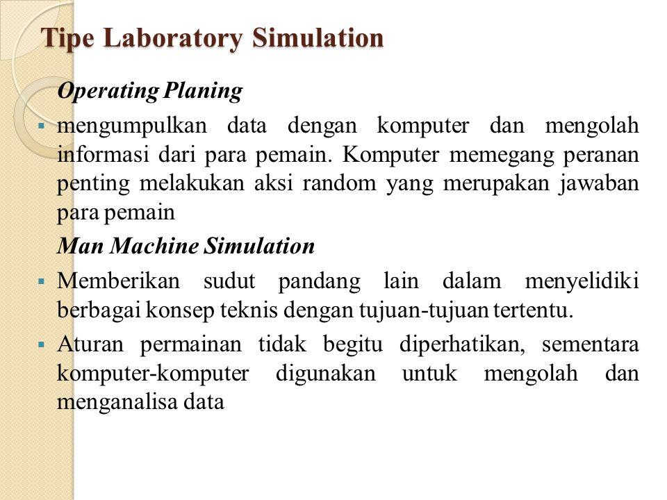 Tipe Laboratory Simulation Operating Planing  mengumpulkan data dengan komputer dan mengolah informasi dari para pemain.