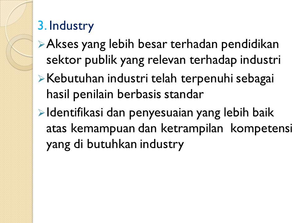 3. Industry  Akses yang lebih besar terhadan pendidikan sektor publik yang relevan terhadap industri  Kebutuhan industri telah terpenuhi sebagai has