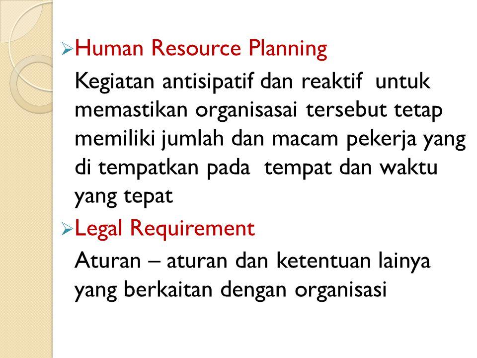  Human Resource Planning Kegiatan antisipatif dan reaktif untuk memastikan organisasai tersebut tetap memiliki jumlah dan macam pekerja yang di tempatkan pada tempat dan waktu yang tepat  Legal Requirement Aturan – aturan dan ketentuan lainya yang berkaitan dengan organisasi