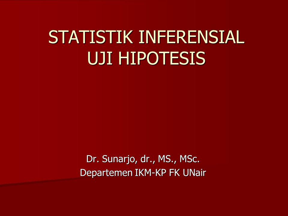 STATISTIK INFERENSIAL UJI HIPOTESIS Dr. Sunarjo, dr., MS., MSc. Departemen IKM-KP FK UNair