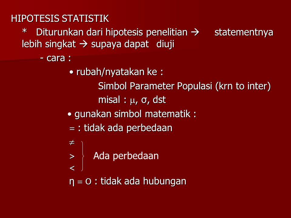 HIPOTESIS STATISTIK * Diturunkan dari hipotesis penelitian  statementnya lebih singkat  supaya dapat diuji - cara : rubah/nyatakan ke : rubah/nyatak