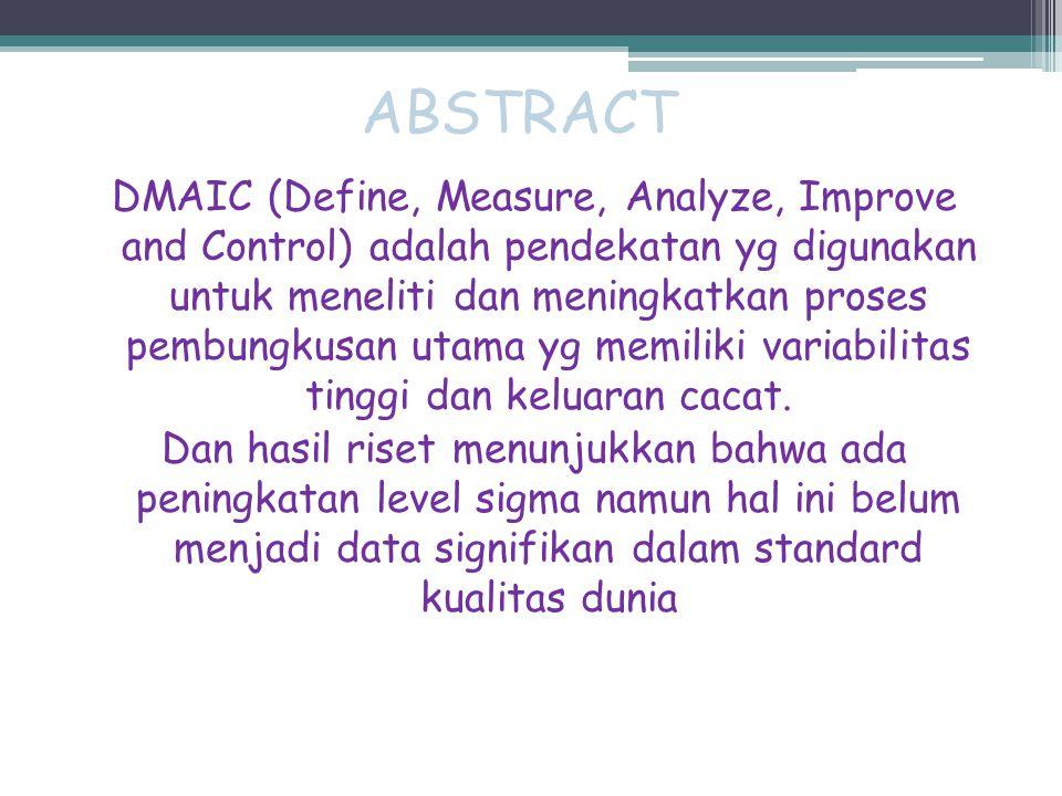 ABSTRACT DMAIC (Define, Measure, Analyze, Improve and Control) adalah pendekatan yg digunakan untuk meneliti dan meningkatkan proses pembungkusan utama yg memiliki variabilitas tinggi dan keluaran cacat.