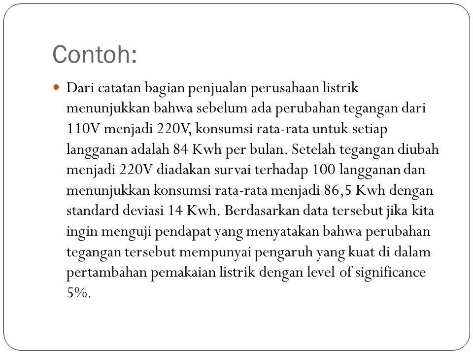 Contoh: Dari catatan bagian penjualan perusahaan listrik menunjukkan bahwa sebelum ada perubahan tegangan dari 110V menjadi 220V, konsumsi rata-rata u