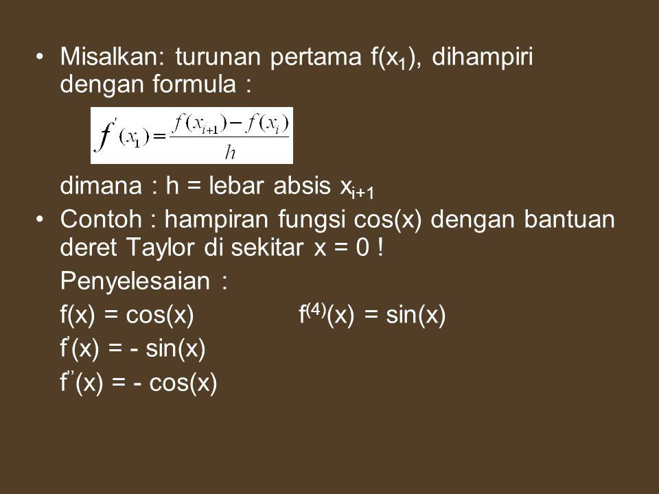 Misalkan: turunan pertama f(x 1 ), dihampiri dengan formula : dimana : h = lebar absis x i+1 Contoh : hampiran fungsi cos(x) dengan bantuan deret Tayl