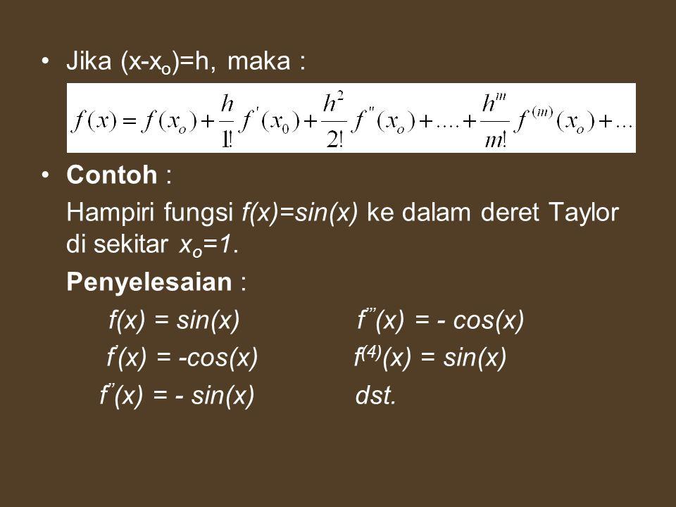 Jika (x-x o )=h, maka : Contoh : Hampiri fungsi f(x)=sin(x) ke dalam deret Taylor di sekitar x o =1. Penyelesaian : f(x) = sin(x) f ''' (x) = - cos(x)