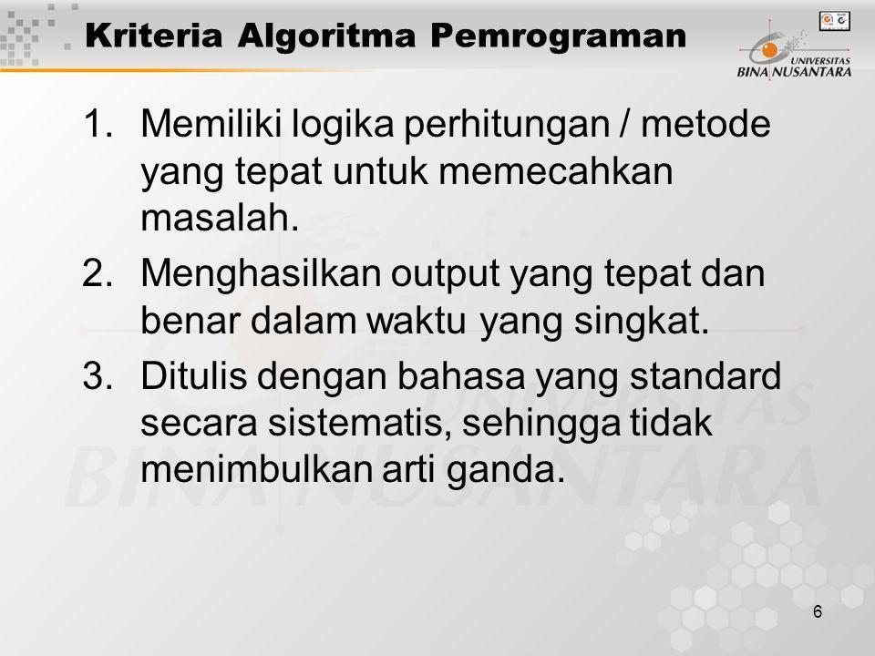 6 Kriteria Algoritma Pemrograman 1.Memiliki logika perhitungan / metode yang tepat untuk memecahkan masalah. 2.Menghasilkan output yang tepat dan bena