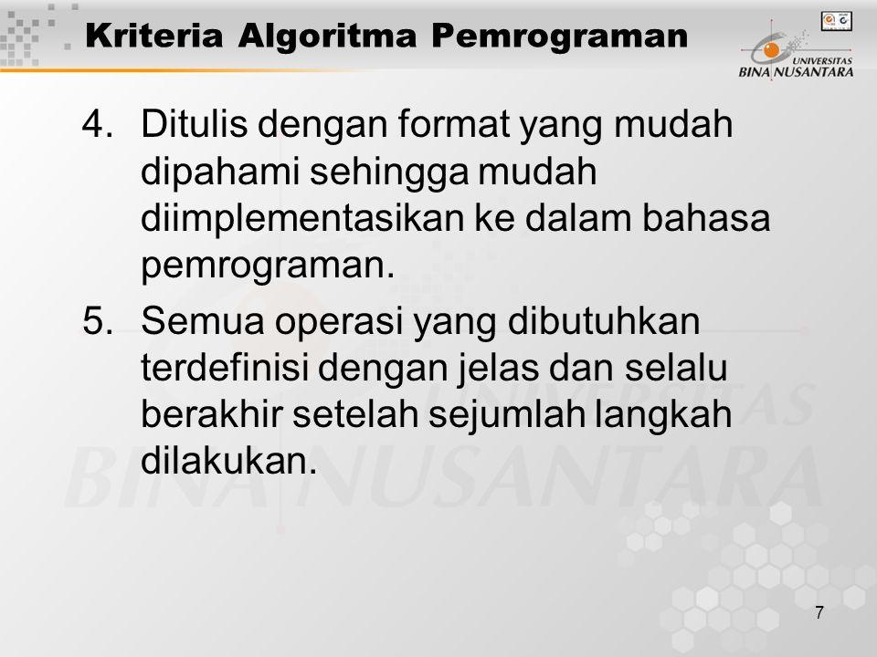 7 Kriteria Algoritma Pemrograman 4.Ditulis dengan format yang mudah dipahami sehingga mudah diimplementasikan ke dalam bahasa pemrograman. 5.Semua ope