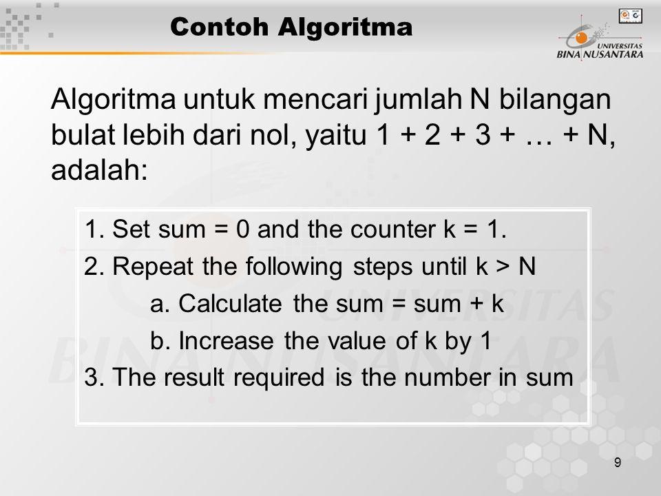 9 Contoh Algoritma Algoritma untuk mencari jumlah N bilangan bulat lebih dari nol, yaitu 1 + 2 + 3 + … + N, adalah: 1. Set sum = 0 and the counter k =