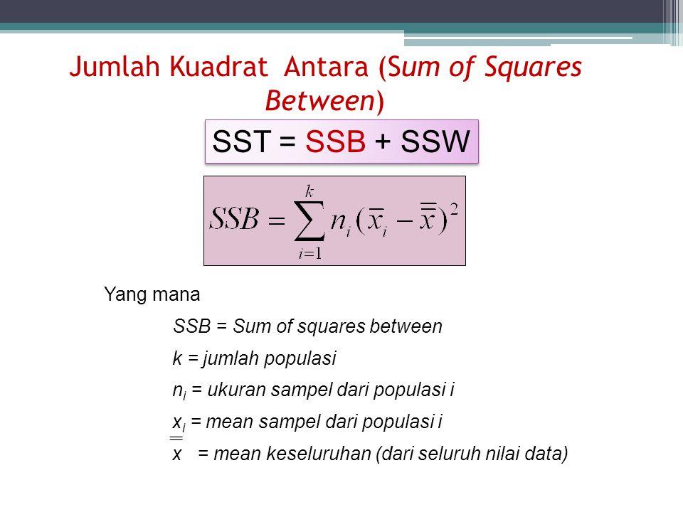 Jumlah Kuadrat Antara (Sum of Squares Between) Yang mana SSB = Sum of squares between k = jumlah populasi n i = ukuran sampel dari populasi i x i = me