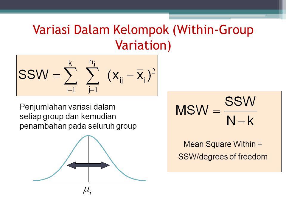 Variasi Dalam Kelompok (Within-Group Variation) Penjumlahan variasi dalam setiap group dan kemudian penambahan pada seluruh group Mean Square Within =