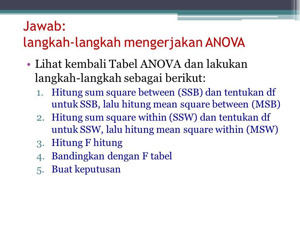 Jawab: langkah-langkah mengerjakan ANOVA Lihat kembali Tabel ANOVA dan lakukan langkah-langkah sebagai berikut: 1.Hitung sum square between (SSB) dan