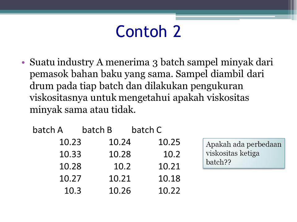 Contoh 2 Suatu industry A menerima 3 batch sampel minyak dari pemasok bahan baku yang sama. Sampel diambil dari drum pada tiap batch dan dilakukan pen