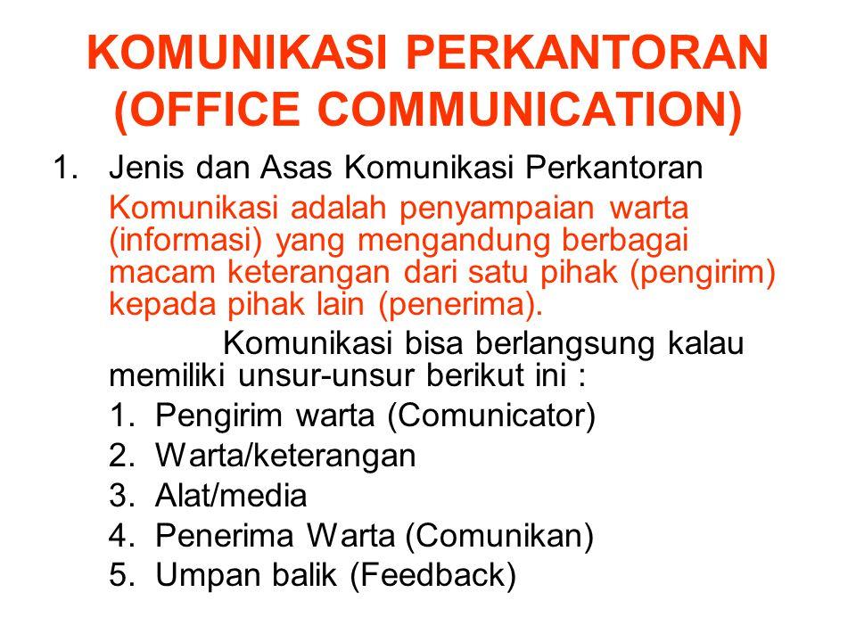 KOMUNIKASI PERKANTORAN (OFFICE COMMUNICATION) 1.Jenis dan Asas Komunikasi Perkantoran Komunikasi adalah penyampaian warta (informasi) yang mengandung berbagai macam keterangan dari satu pihak (pengirim) kepada pihak lain (penerima).