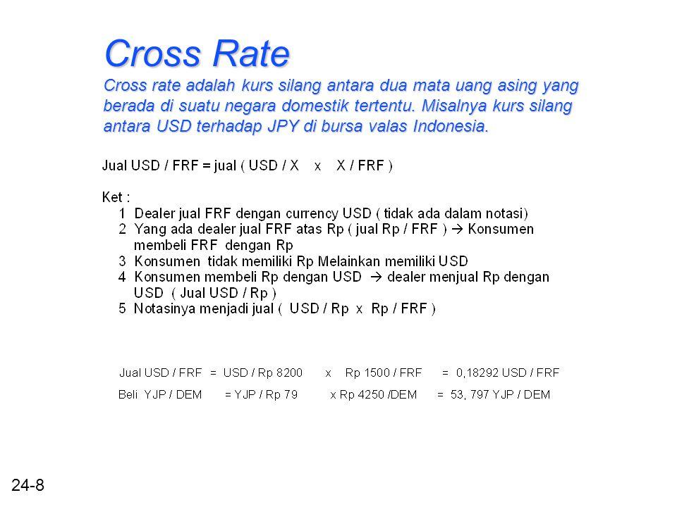 24-8 Cross Rate Cross rate adalah kurs silang antara dua mata uang asing yang berada di suatu negara domestik tertentu.