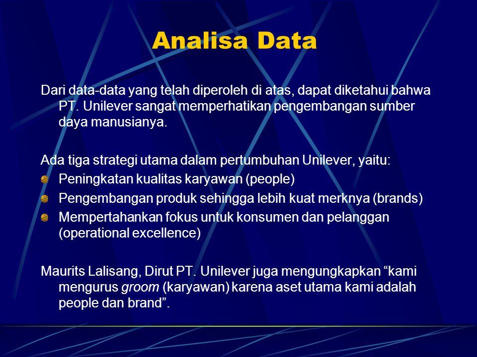 Analisa Data Dari data-data yang telah diperoleh di atas, dapat diketahui bahwa PT. Unilever sangat memperhatikan pengembangan sumber daya manusianya.