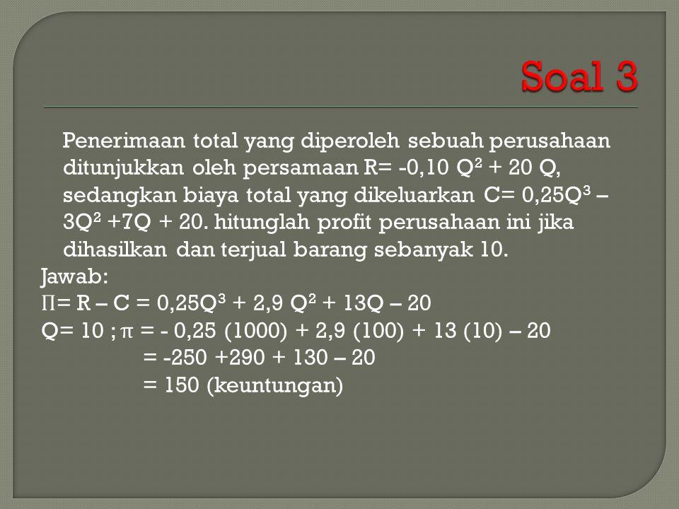 Penerimaan total yang diperoleh sebuah perusahaan ditunjukkan oleh persamaan R= -0,10 Q 2 + 20 Q, sedangkan biaya total yang dikeluarkan C= 0,25Q 3 – 3Q 2 +7Q + 20.