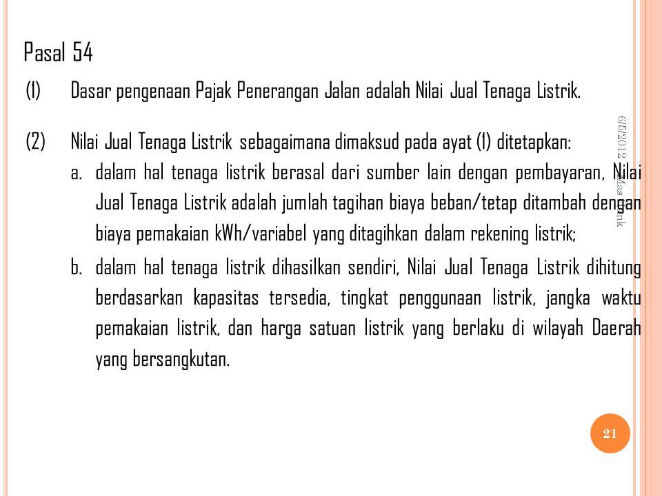 6/5/2012 Mas Hank 21 (1)Dasar pengenaan Pajak Penerangan Jalan adalah Nilai Jual Tenaga Listrik.