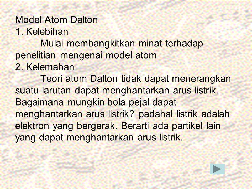 Model Atom Dalton 1. Kelebihan Mulai membangkitkan minat terhadap penelitian mengenai model atom 2. Kelemahan Teori atom Dalton tidak dapat menerangka