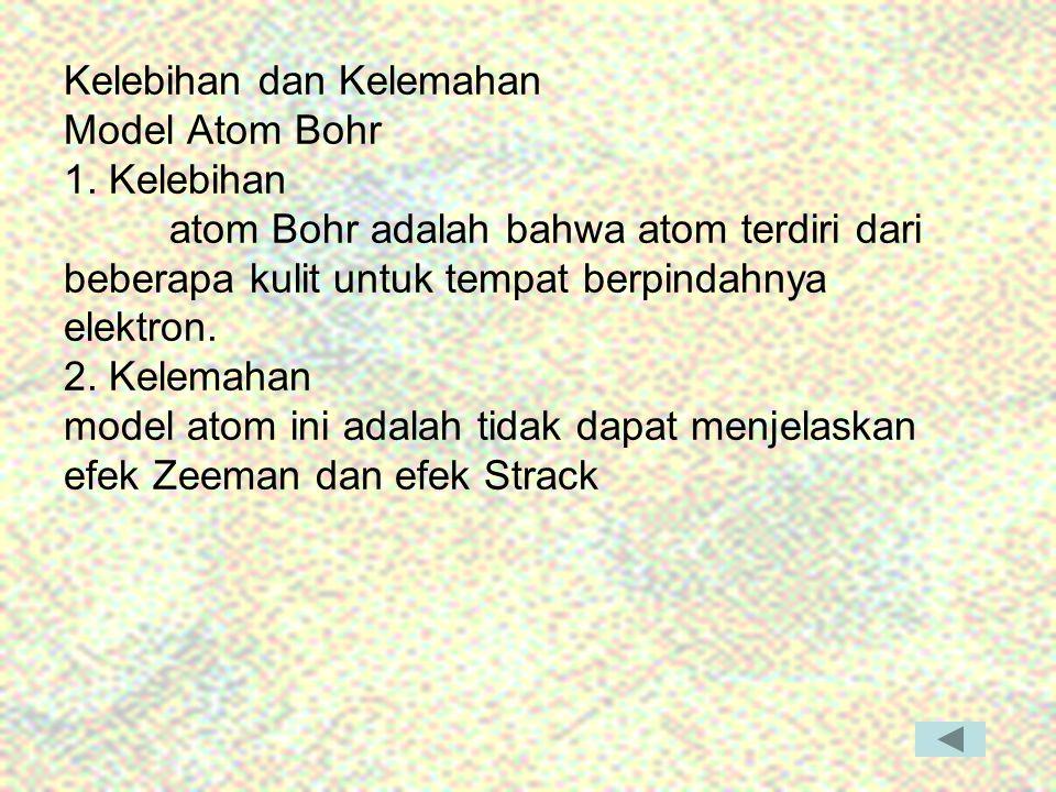 Kelebihan dan Kelemahan Model Atom Bohr 1. Kelebihan atom Bohr adalah bahwa atom terdiri dari beberapa kulit untuk tempat berpindahnya elektron. 2. Ke