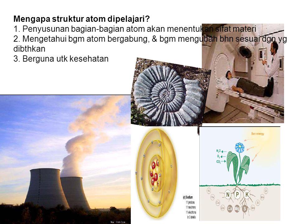 SEKARANG Atom sebagai bola keras Atom sebagai awan materi yang kompleks Definisi awal tentang konsep atom berlangsung > 2000 tahun DULU 90 jenis atom I jenis I unsur Jutaan senyawa yang dihailkan Atom sebagai penyusun semua benda, Proses perubahan benda→tdk akan menghilangkan atom penyusunnya Atom abadi