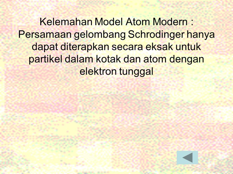 Kelemahan Model Atom Modern : Persamaan gelombang Schrodinger hanya dapat diterapkan secara eksak untuk partikel dalam kotak dan atom dengan elektron