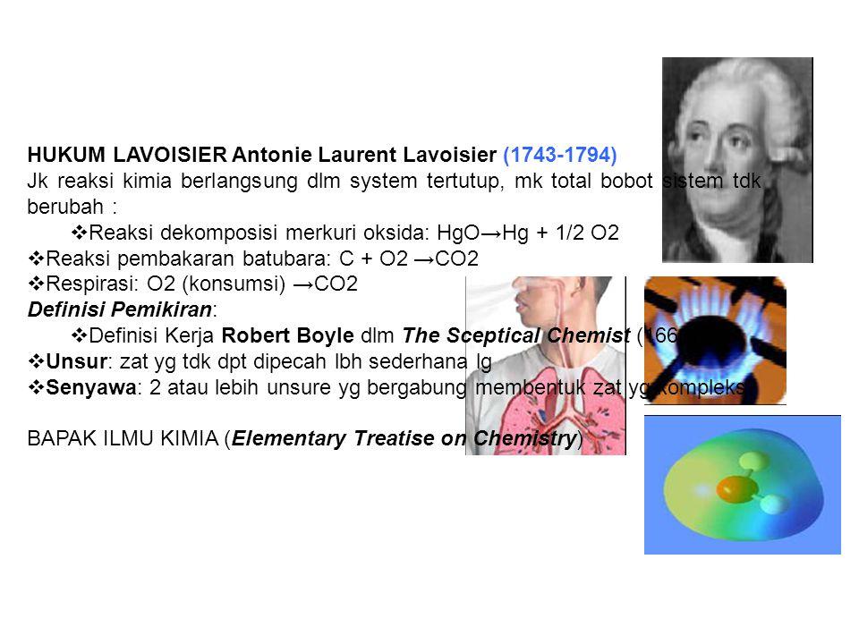 HUKUM LAVOISIER Antonie Laurent Lavoisier (1743-1794) Jk reaksi kimia berlangsung dlm system tertutup, mk total bobot sistem tdk berubah :  Reaksi de
