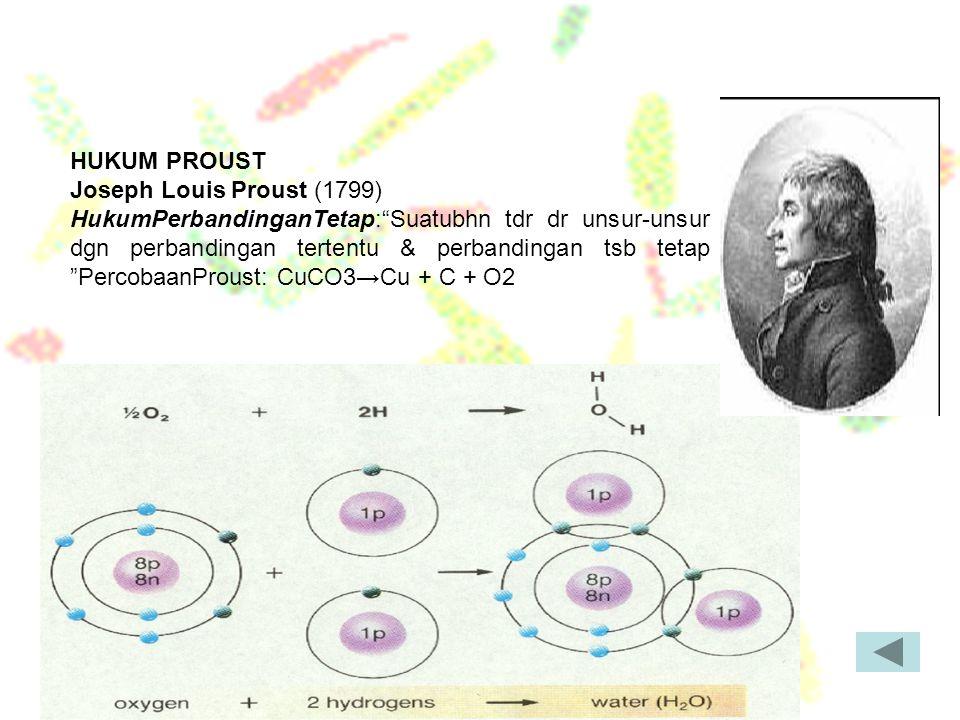 """HUKUM PROUST Joseph Louis Proust (1799) HukumPerbandinganTetap:""""Suatubhn tdr dr unsur-unsur dgn perbandingan tertentu & perbandingan tsb tetap """"Percob"""