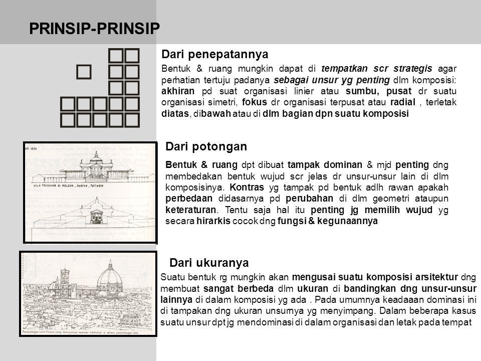 PRINSIP-PRINSIP Dari ukuranya Dari potongan Dari penepatannya Bentuk & ruang mungkin dapat di tempatkan scr strategis agar perhatian tertuju padanya s