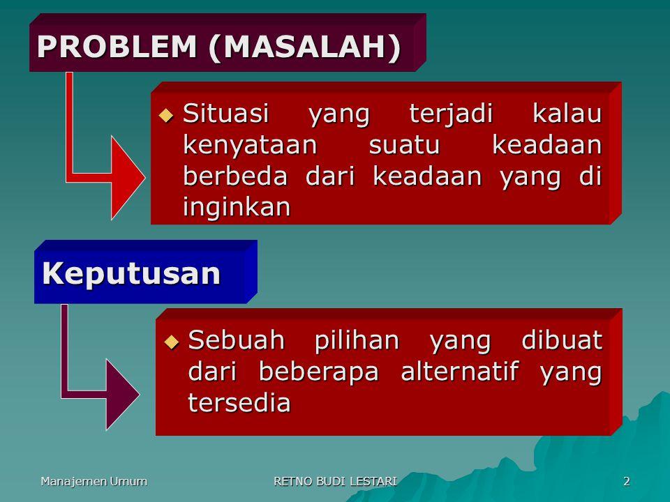 Manajemen Umum RETNO BUDI LESTARI 2 PROBLEM (MASALAH) Keputusan  Situasi yang terjadi kalau kenyataan suatu keadaan berbeda dari keadaan yang di ingi