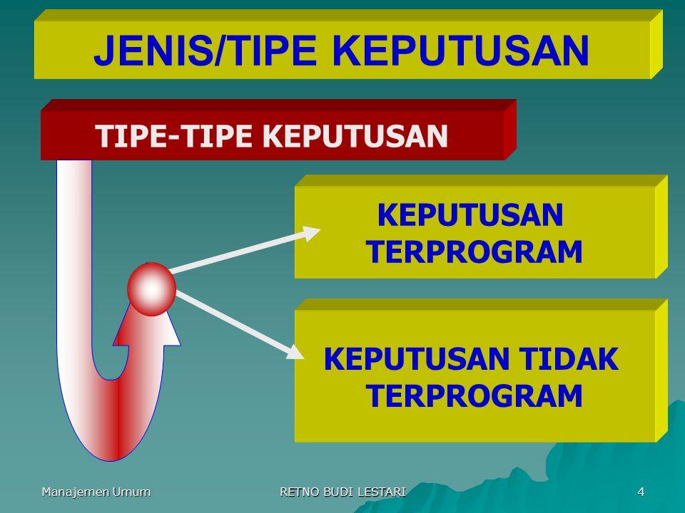 Manajemen Umum RETNO BUDI LESTARI 4 JENIS/TIPE KEPUTUSAN TIPE-TIPE KEPUTUSAN KEPUTUSAN TERPROGRAM KEPUTUSAN TIDAK TERPROGRAM