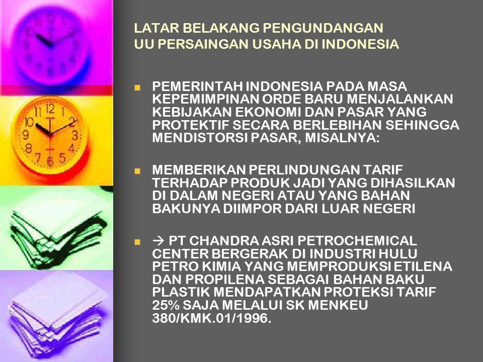 LATAR BELAKANG PENGUNDANGAN UU PERSAINGAN USAHA DI INDONESIA PEMERINTAH INDONESIA PADA MASA KEPEMIMPINAN ORDE BARU MENJALANKAN KEBIJAKAN EKONOMI DAN P