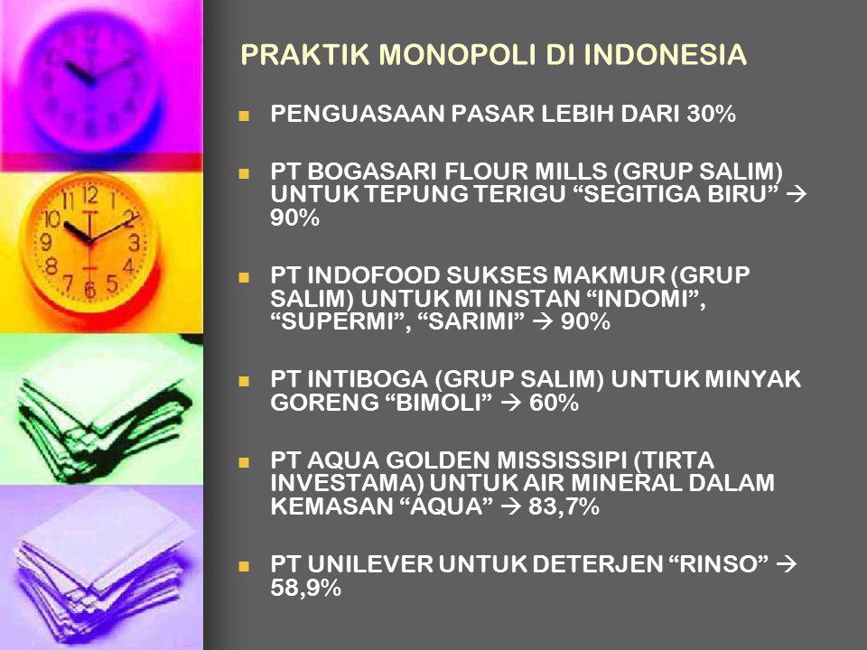 """PRAKTIK MONOPOLI DI INDONESIA PENGUASAAN PASAR LEBIH DARI 30% PT BOGASARI FLOUR MILLS (GRUP SALIM) UNTUK TEPUNG TERIGU """"SEGITIGA BIRU""""  90% PT INDOFO"""