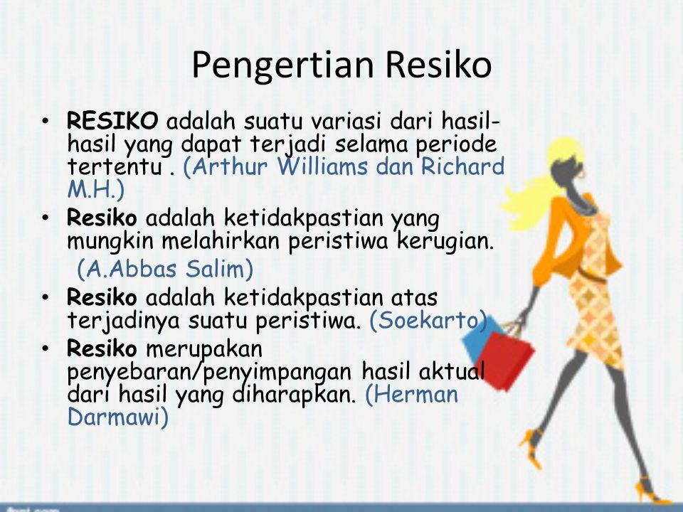 Pengertian Resiko RESIKO adalah suatu variasi dari hasil- hasil yang dapat terjadi selama periode tertentu. (Arthur Williams dan Richard M.H.) Resiko
