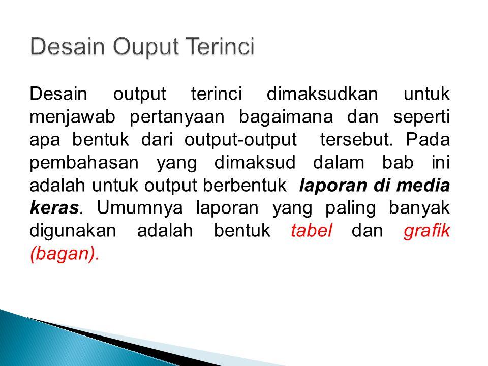 Desain output terinci dimaksudkan untuk menjawab pertanyaan bagaimana dan seperti apa bentuk dari output-output tersebut. Pada pembahasan yang dimaksu
