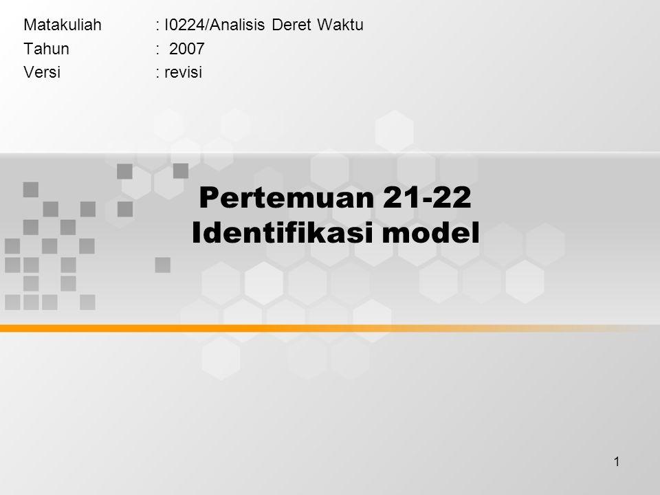 1 Pertemuan 21-22 Identifikasi model Matakuliah: I0224/Analisis Deret Waktu Tahun: 2007 Versi: revisi