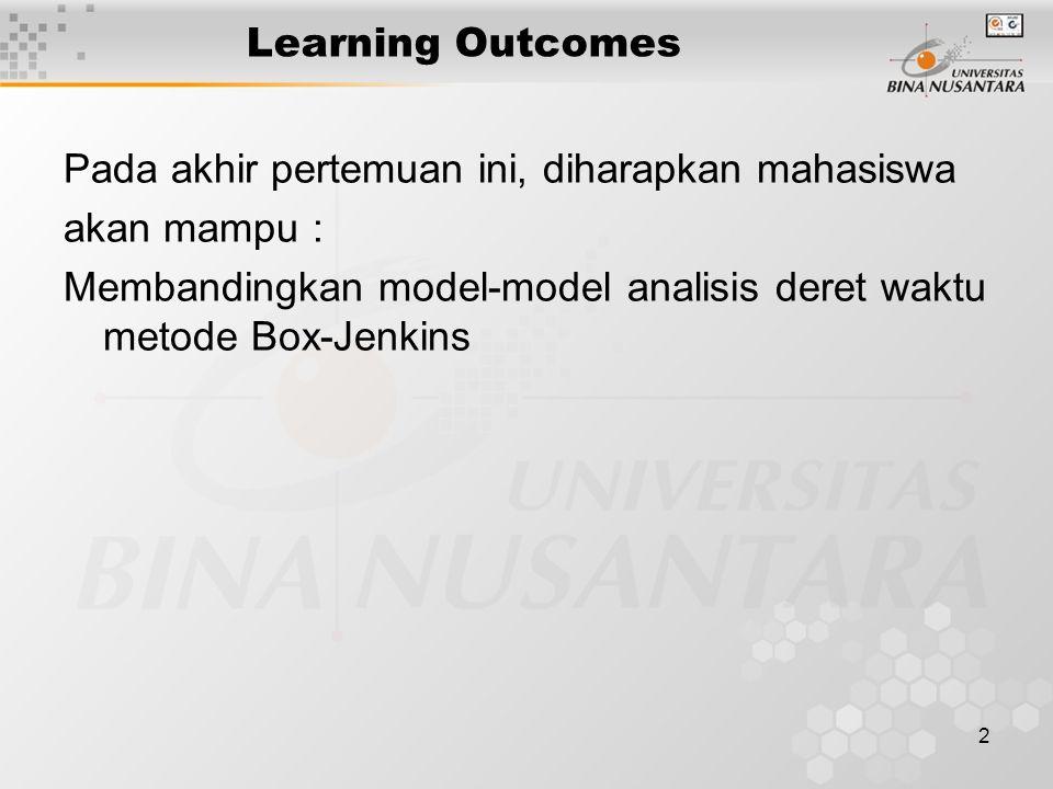 2 Learning Outcomes Pada akhir pertemuan ini, diharapkan mahasiswa akan mampu : Membandingkan model-model analisis deret waktu metode Box-Jenkins