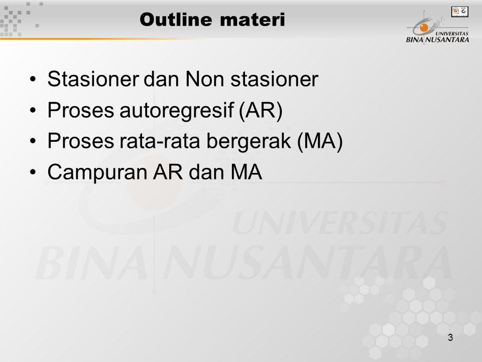 3 Outline materi Stasioner dan Non stasioner Proses autoregresif (AR) Proses rata-rata bergerak (MA) Campuran AR dan MA