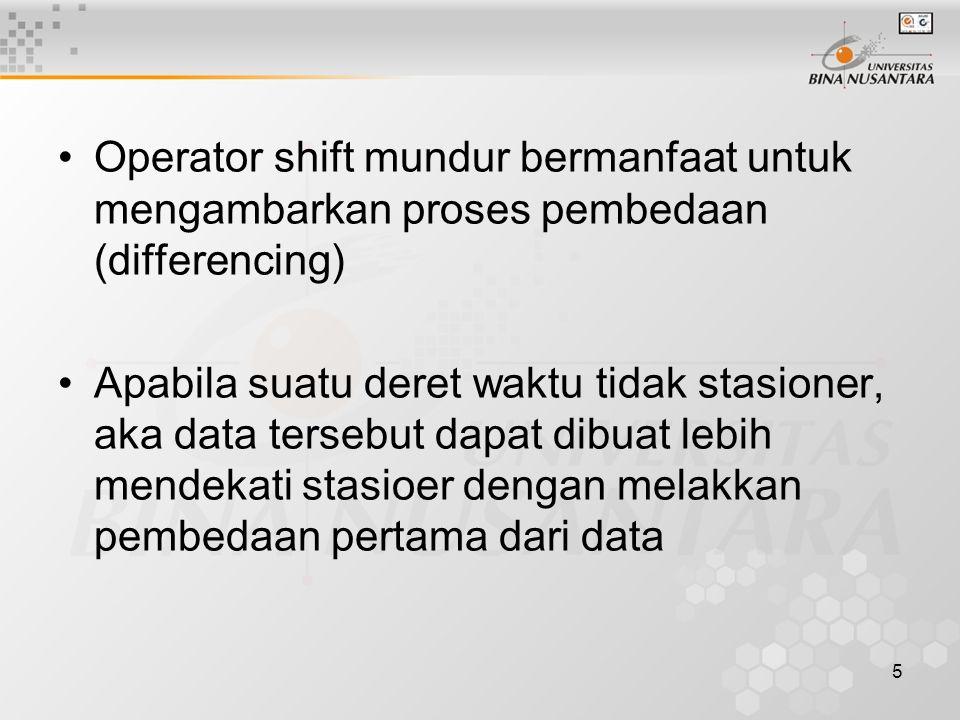 5 Operator shift mundur bermanfaat untuk mengambarkan proses pembedaan (differencing) Apabila suatu deret waktu tidak stasioner, aka data tersebut dap