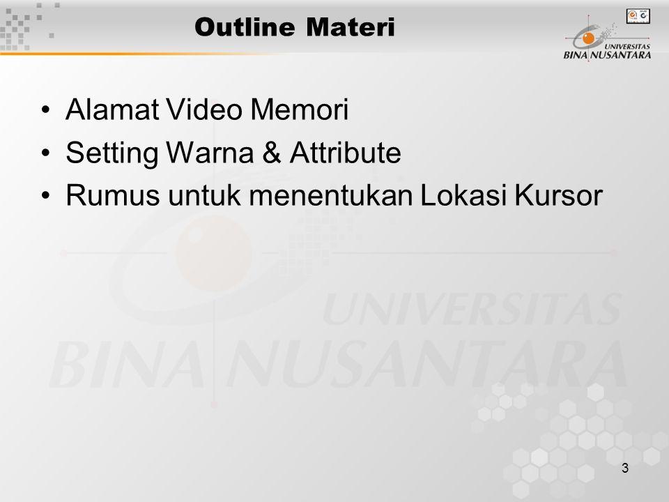 3 Outline Materi Alamat Video Memori Setting Warna & Attribute Rumus untuk menentukan Lokasi Kursor