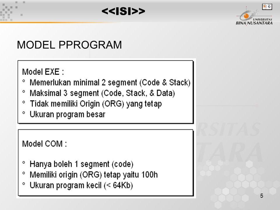 5 > MODEL PPROGRAM