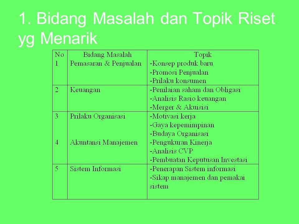 1. Bidang Masalah dan Topik Riset yg Menarik