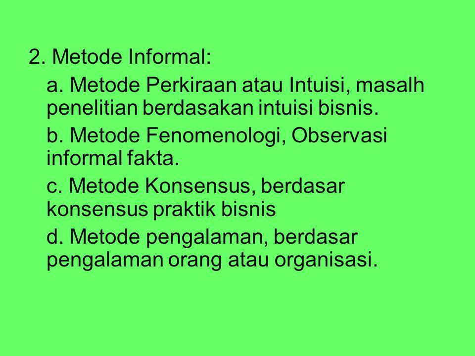 2. Metode Informal: a. Metode Perkiraan atau Intuisi, masalh penelitian berdasakan intuisi bisnis. b. Metode Fenomenologi, Observasi informal fakta. c